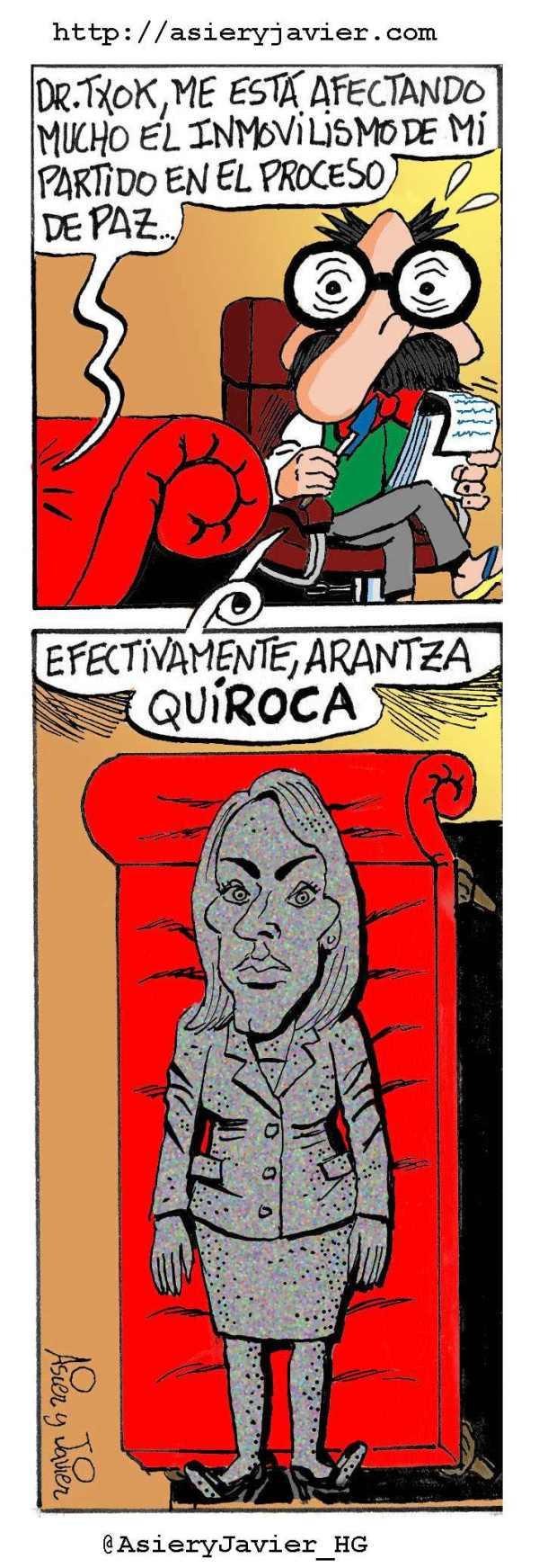 Arantza Quiroga consulta al doctor Txok tras ser reelegida mandamasa del PP vasco. Caricatura, humor gráfico.