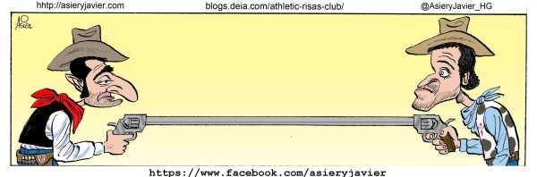 Valverde y Luis Enrique empataron en su duelo de Balaídos. Humor, caricatura.
