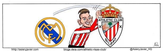 Un golazo de Ibai Gómez hace mínima justicia al juego del Athletic ante el Real Madrid en San Mamés. Humor gráfico, caricatura.