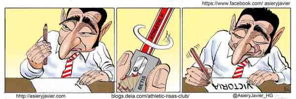 El Athletic de Valverde se afianza en Champions tras su paso por el Villamarín. Humor, caricatura.