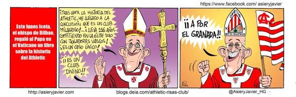 Tras los regalos del obispo Iceta, Papa Francisco se hace forofo del Athletic. Caricatura, humor.