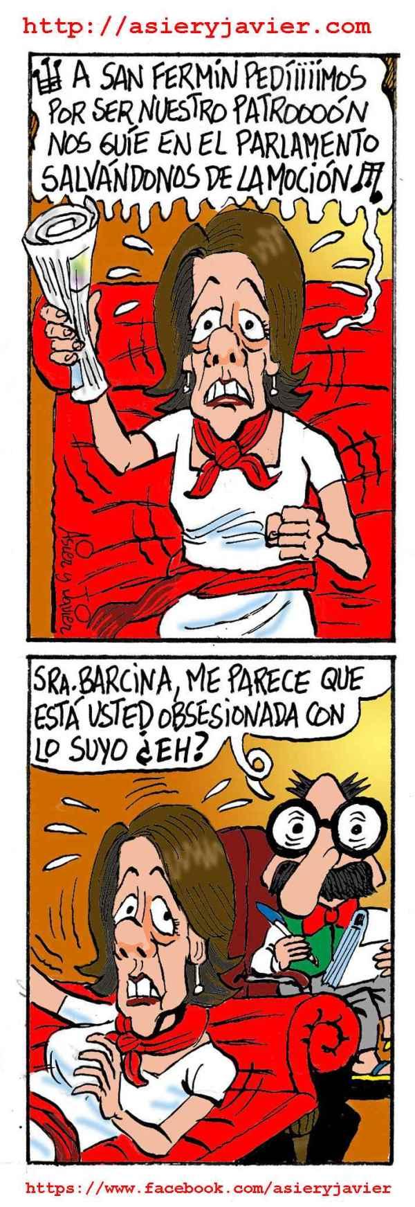 Barcina acude al doctor Txok ante la posibilidad de una moción de censura en Navarra. Viñeta, caricatura.