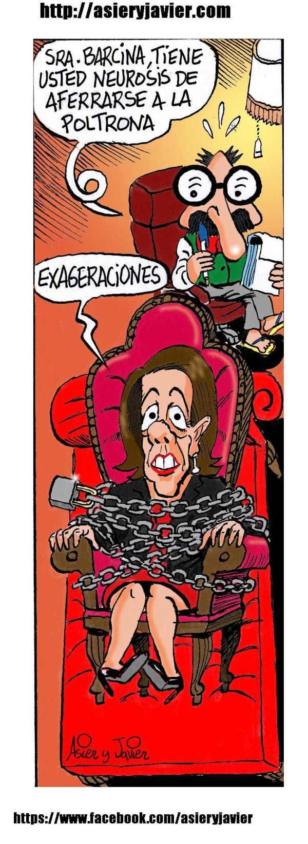 El doctor Txok, Yolanada Barcina y la poltona navarra. Humor, caricatura.