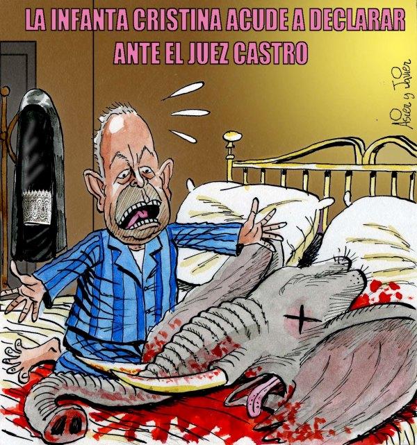 El juez Castro y las advertencias la mañana en que declaró la infanta Cristina. Viñeta, caricatura.
