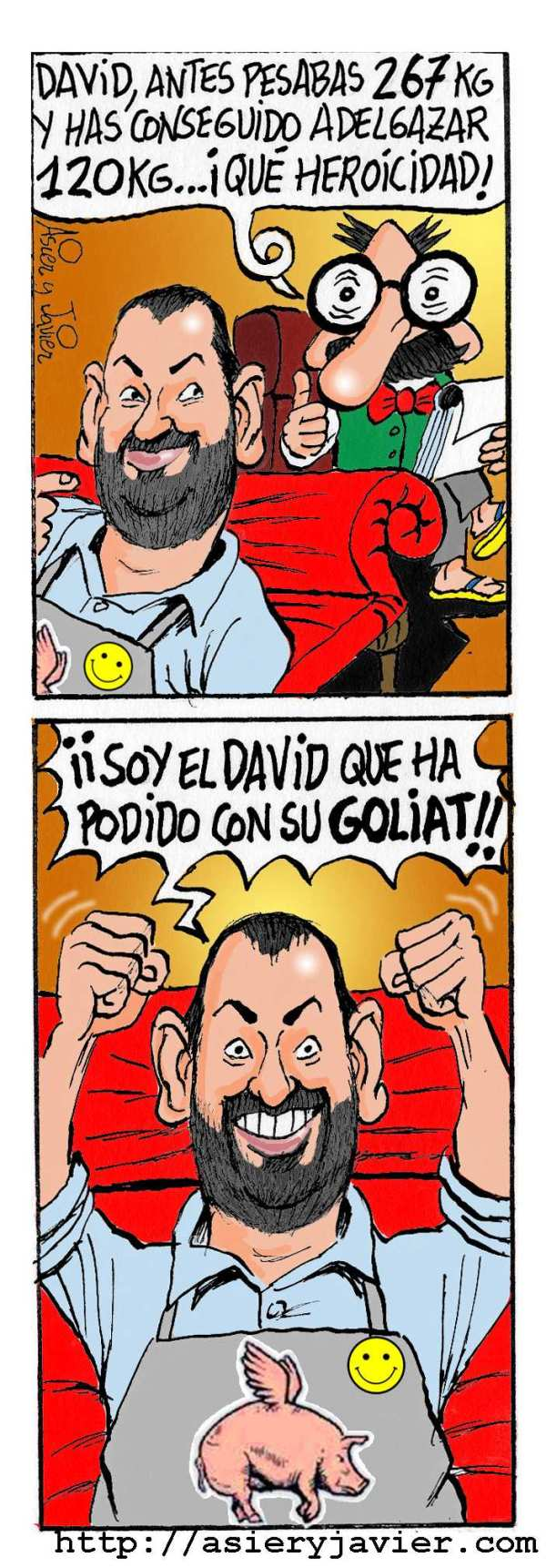 El gran David de Jorge vence a su Goliath. Humor, caricatura.