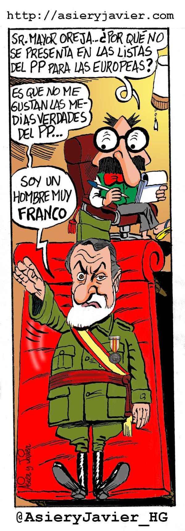 Mayor Oreja visita al doctor Txok tras su renuncia a las listas europeas del PP. Viñeta, humor gráfico, caricatura.