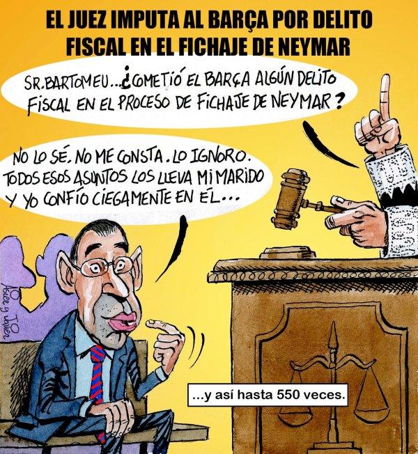 El Barça, imputado por el contrato de Neymar. Humor, caricatura.
