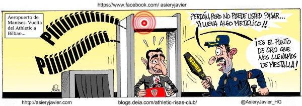 El Athletic rescata un punto de oro en Mestalla...que debieron ser tres. Humor, viñeta.