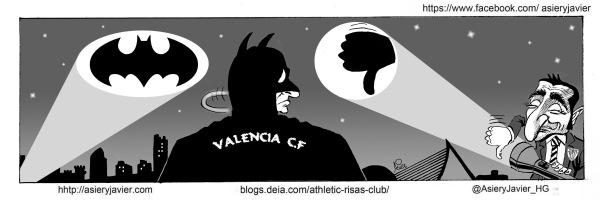 El Athletic, a Mestalla a por el murciélago. Viñeta, caricatura, humor.