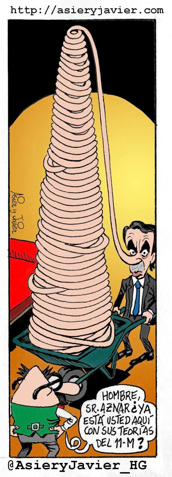 Como todos los meses de marzo, el expresidente Aznar visita al doctor Txok. Caricatura, viñeta.