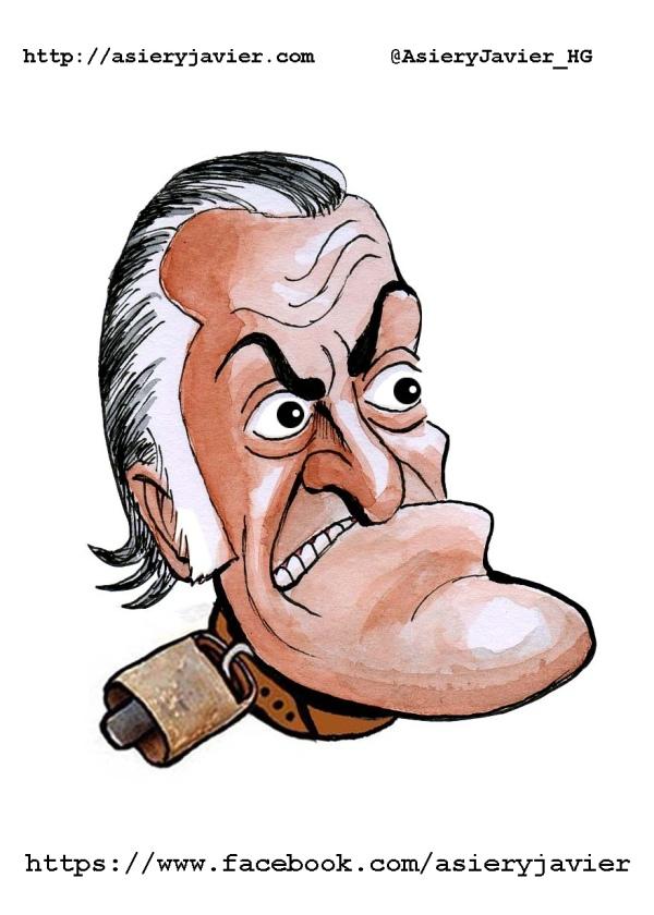 Luis Bárcenas, cencerro de la semana. Caricatura, viñeta.