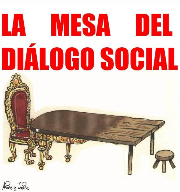 """La """"mesa del diálogo social"""" vuelve a la actualidad. Humor, viñeta."""