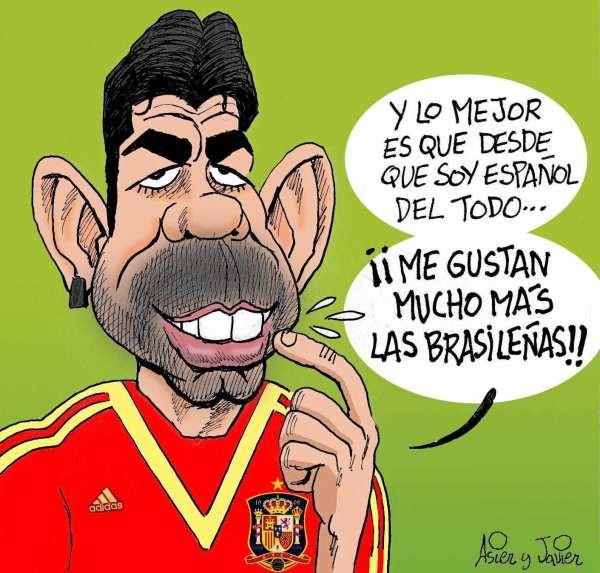 Diego Costa debutó con España. Caricatura, humor.