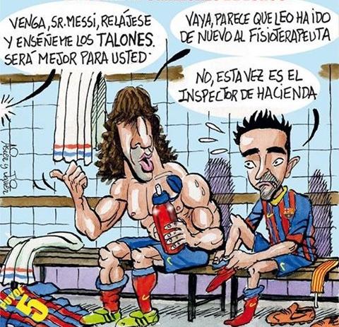 Con cariño, a Carles Puyol. Viñeta, caricatura, humor.