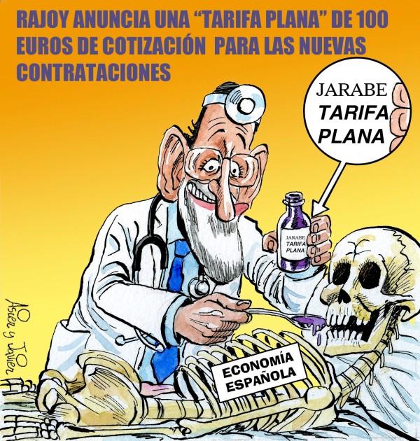 En El Jueves, Rajoy anuncia una tarifa plana para las cotizaciones a las Seguridad Social en España. Viñeta, caricatura, humor.