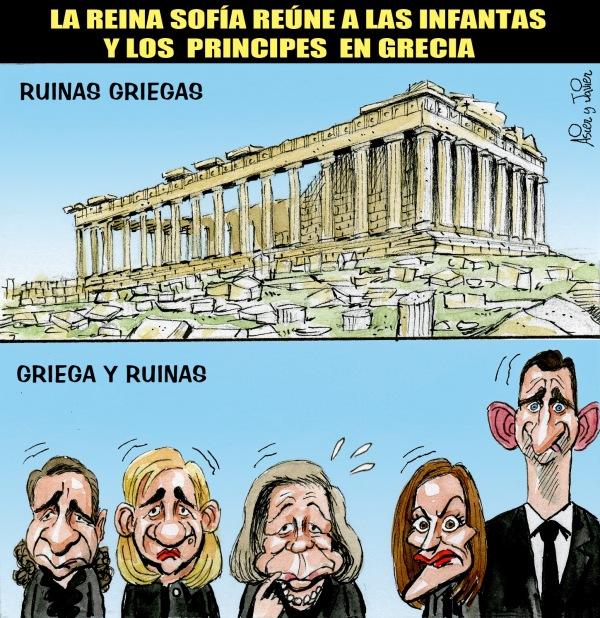 La familia real, en Grecia sin el rey. Humor, caricaturas.