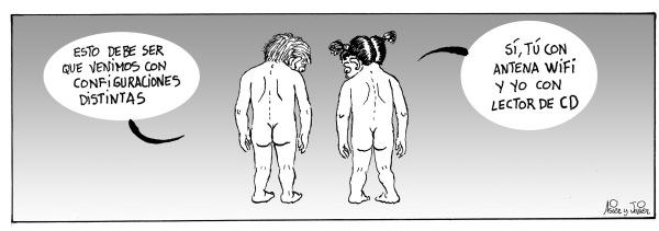 Hombres y mujeres venimos al mundo con configuraciones distintas. Humor gráfico.