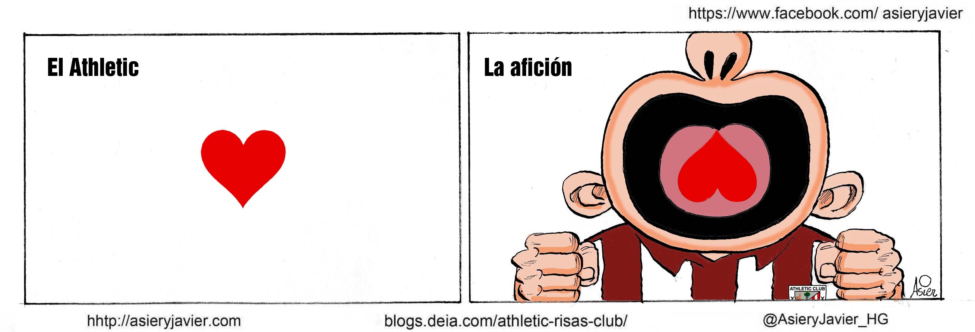 El Athletic y la afición, un mismo corazón que late por la Champions. Viñeta.