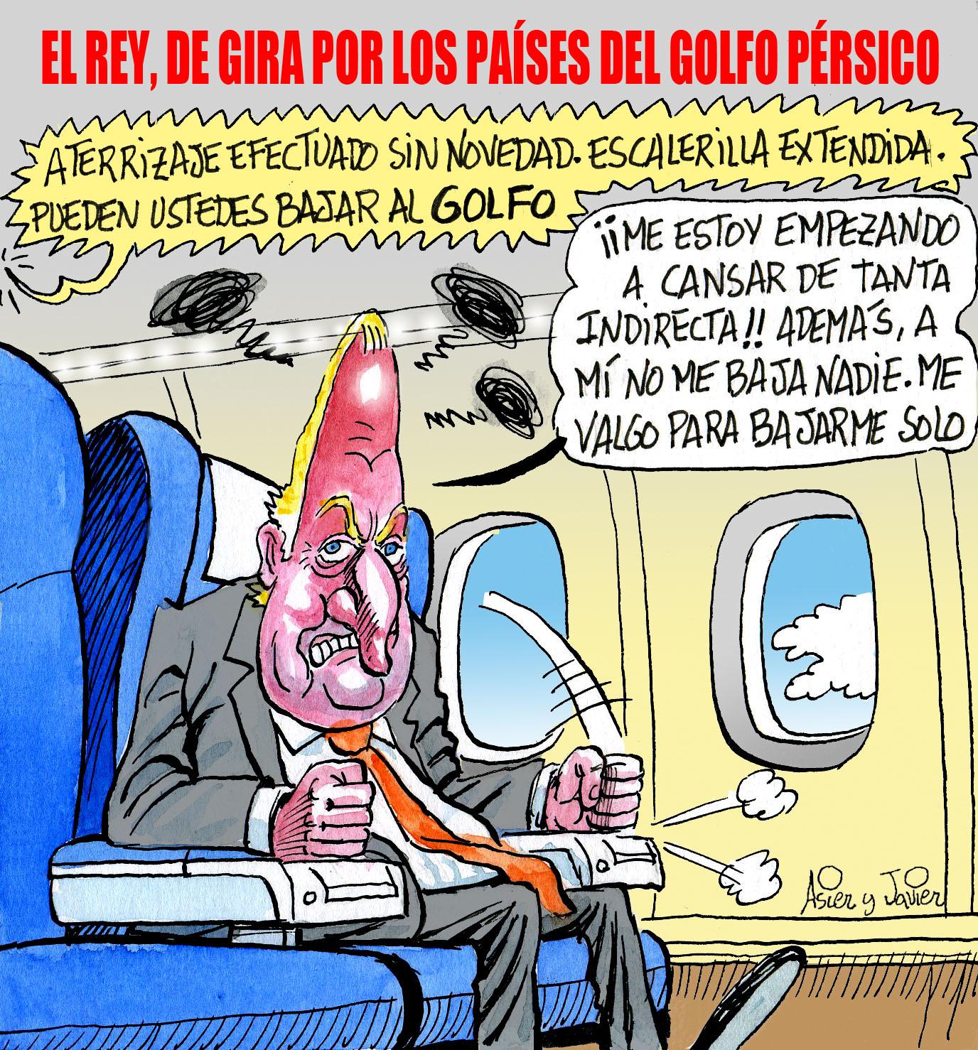 El Rey Juan Carlos, su avión y la gira por el Golfo Pérsico. España, Humor.
