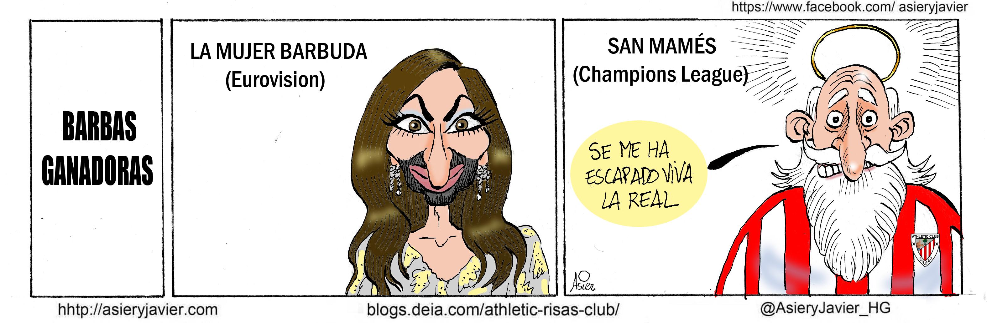 Al Athletic se le escapa viva la Real de San Mamés. Barbas, Cristina Wurst, Viñeta, Humor, Eurovisión.
