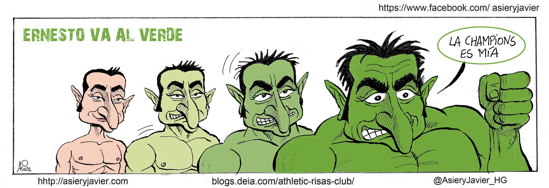 El Athletic y Valverde, a tope a Vallecas a confirmar la plaza Champions. Humor, caricatura, viñeta.