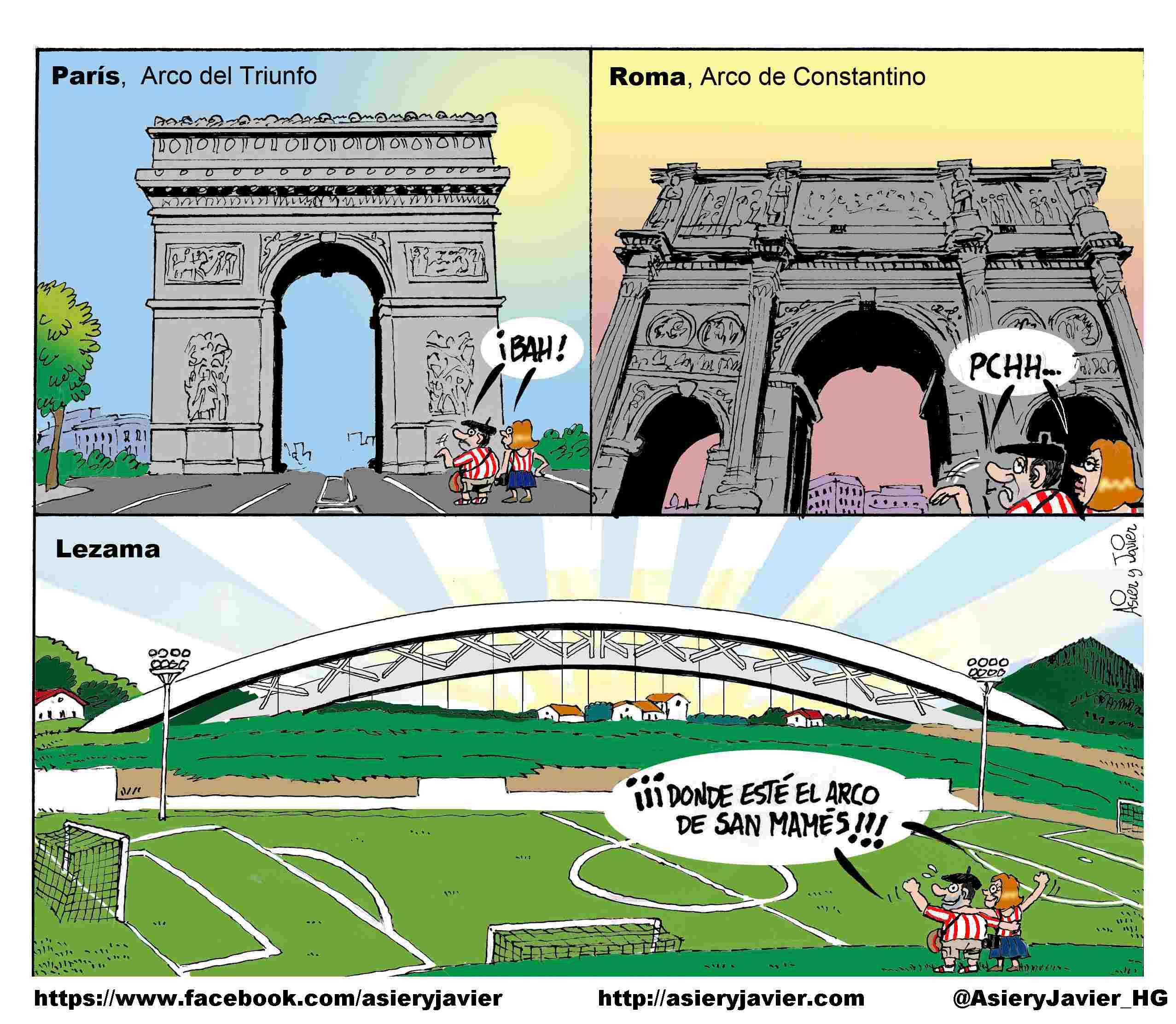 Con la colocación del arco de San Mamés, Lezama se pone a la altura de París o Roma. Athletic de Bilbao, Fútbol, humor.