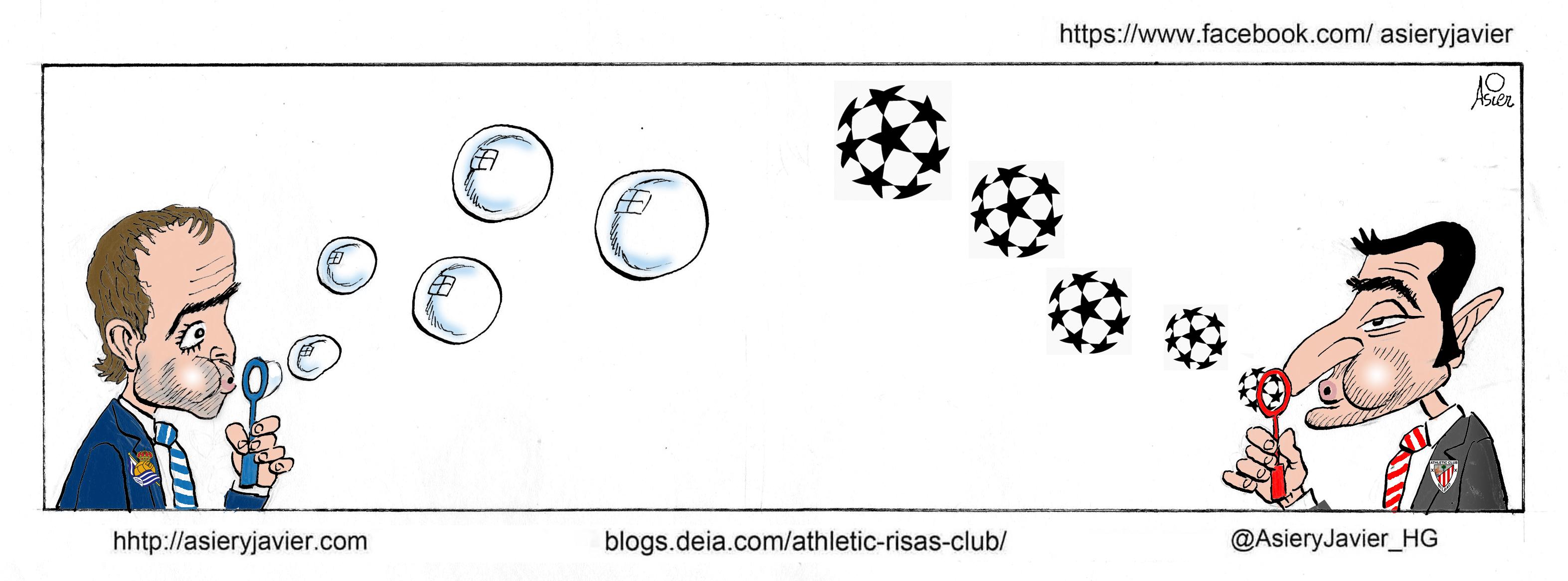 Un derby en San Mamés con Europa al fondo. La Real se juega una plaza de Europa League mientras que el Athletic tiene la Champions asegurada. Humor, caricaturas, viñeta.