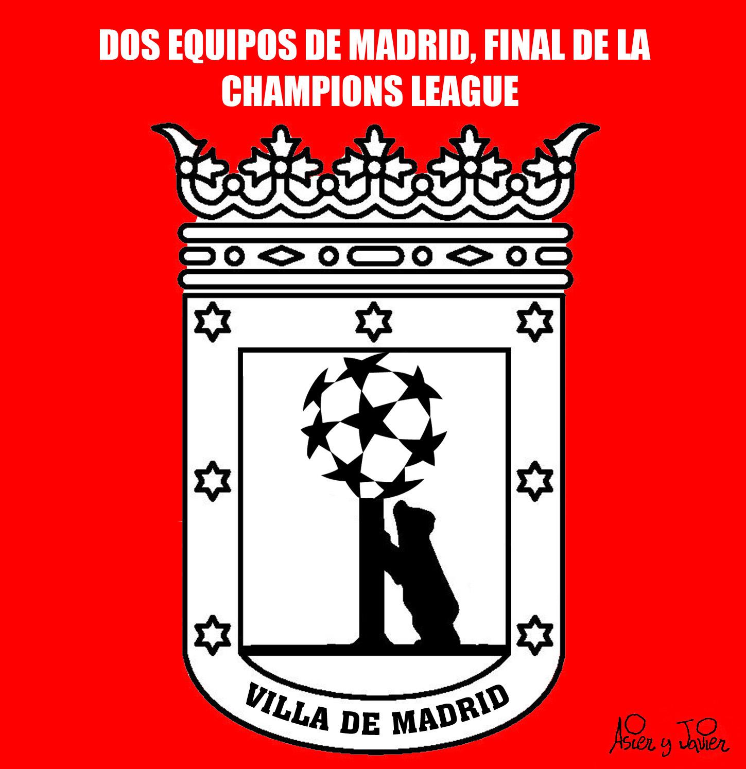 Dos equipos de fútbol de Madrid disputarán la final de la Champions. Viñeta, oso y madroño, humor.