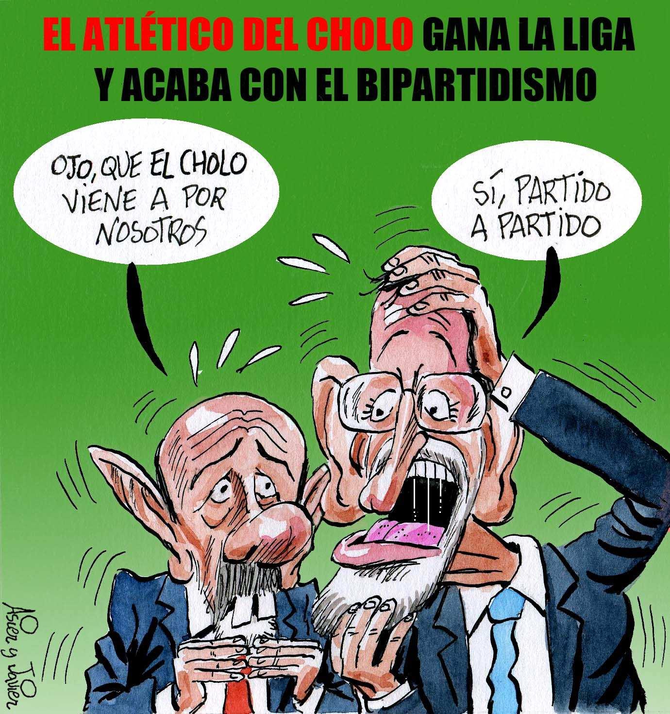 El Atlético de Simeone gana la liga y acaba con el bipartidismo del Madrid y el Barça. Humor, caricatura, Rajoy, Rubalcaba.