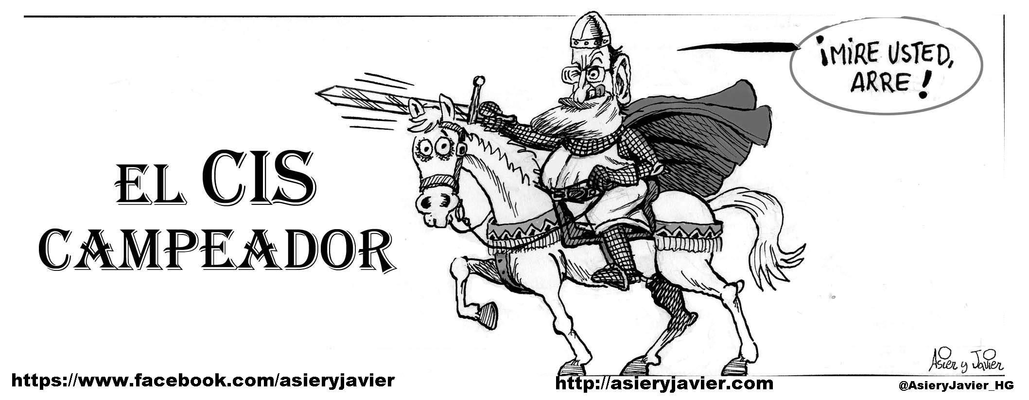 Rajoy se vale del CIS para hacerse fuerte en las elecciones europeas. Caricatura, viñeta.