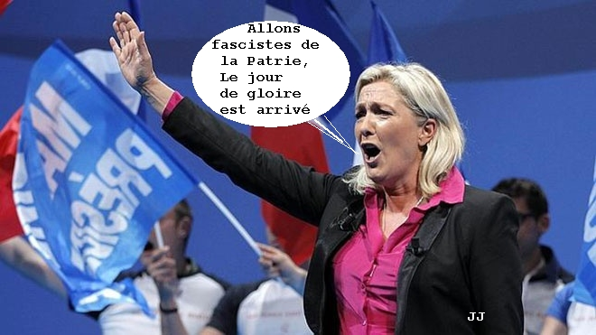 Tras los resultados de las Europeas ayer en Francia, cambia la letra de La Marsellesa. Marine Le Pen, FN, Viñeta