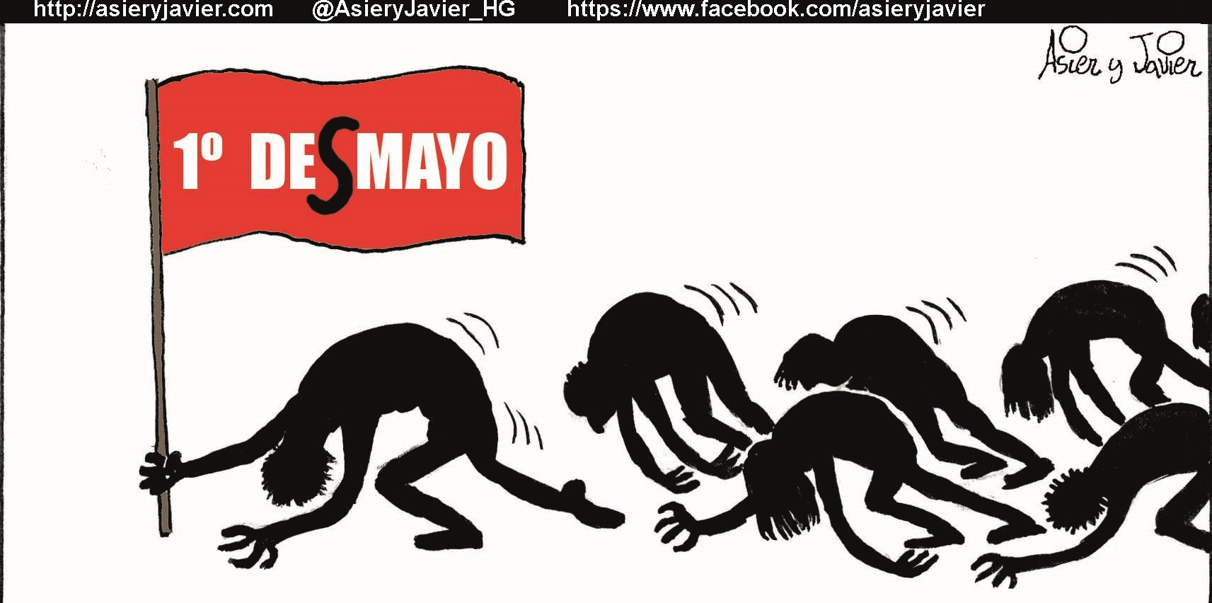 1 de mayo, Día Internacional del Trabajo. Viñeta