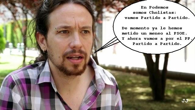 Pablo Iglesias y el cholismo político de Podemos. Viñeta