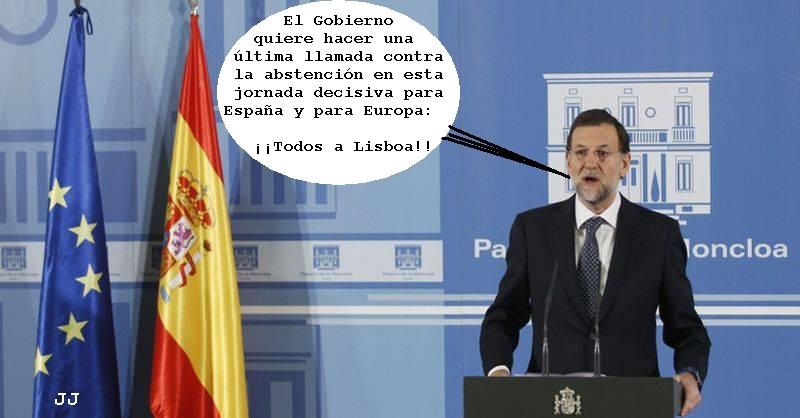 Última llamada del Gobierno contra la abstención. Rajoy, humor, Campions League, Lisboa.