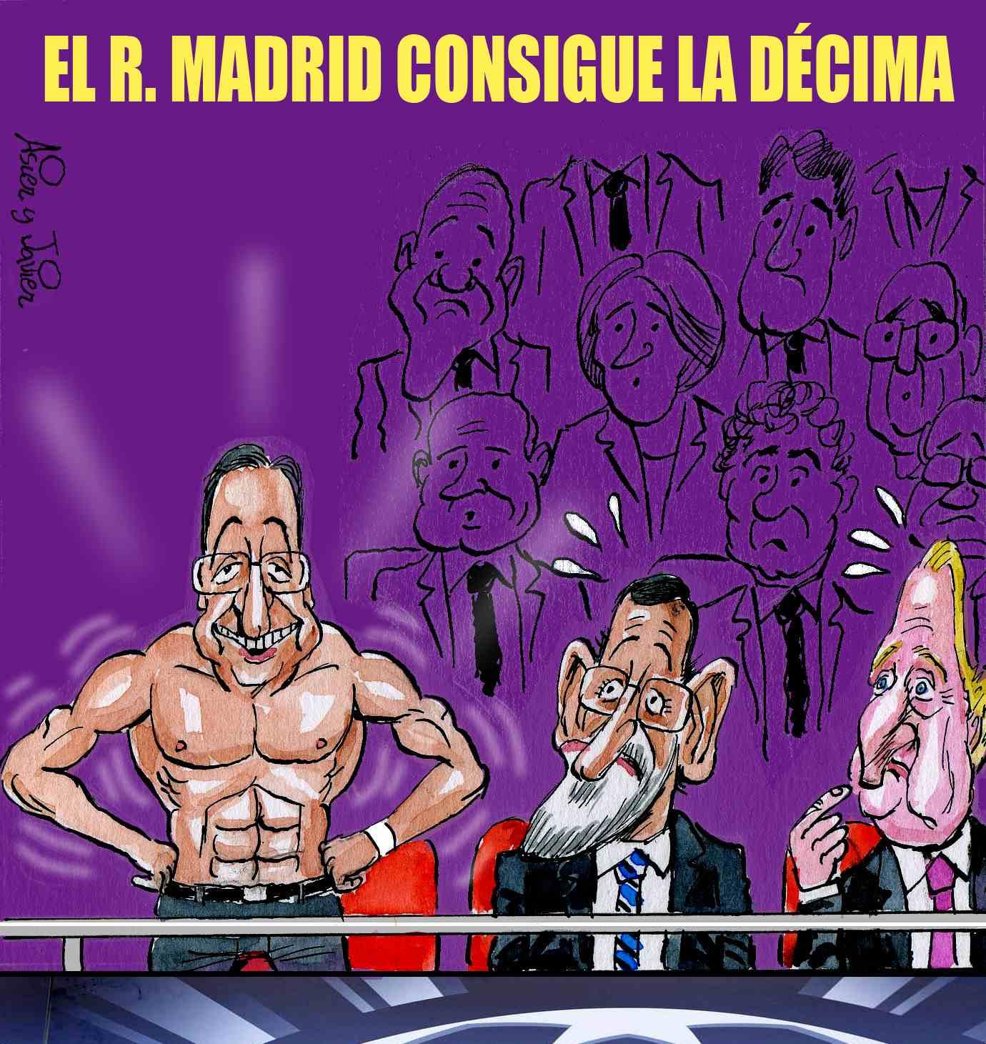 El Real Madrid de Florentino ganó la Champions. Caricaturas, Viñeta.
