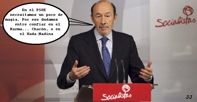 El PSOE de Rubalcaba y la magia electoral. Chacón, Eduardo Madina. Humor. Viñeta