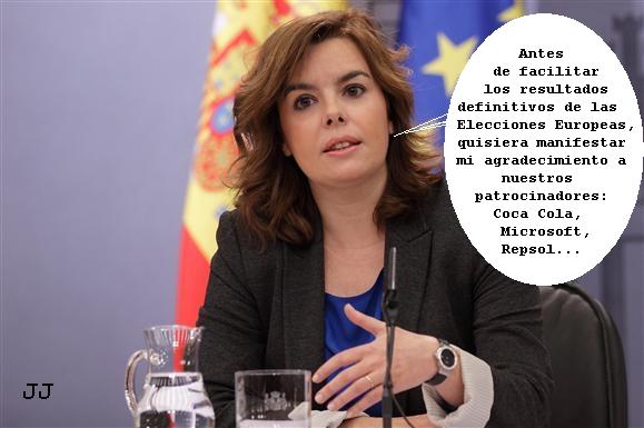 La rueda de prensa de los resultados de las Elecciones Europeas. Soraya Sáenz de Santamaría, viñeta.