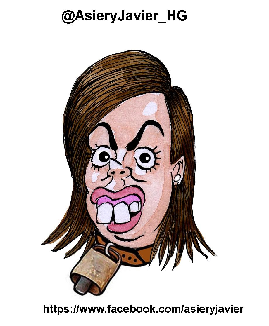 Soraya Sáenz de Santamaría consigue el puto Cencerro de la Semana. Caricatura, viñeta.