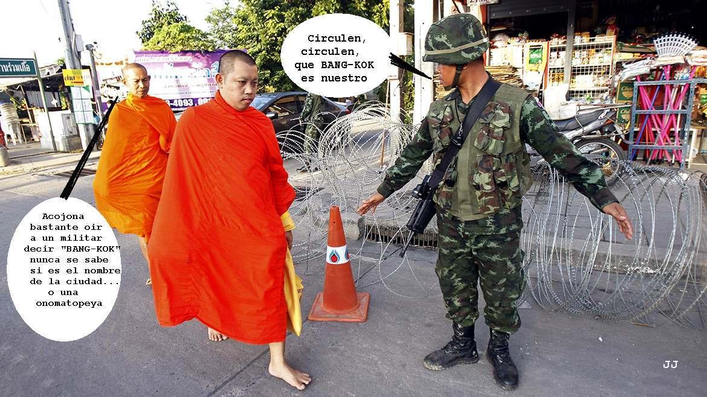 Golpe de estado militar en Tailandia. Viñeta, Foto.