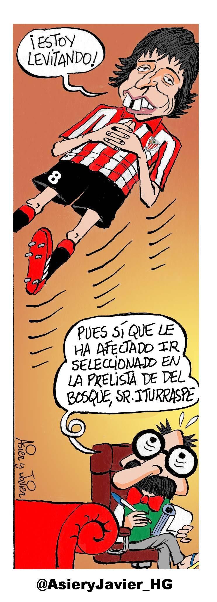 Ander Iturraspe acude al doctor Txok tras su convocatoria por Del Bosque. Humor, viñeta.