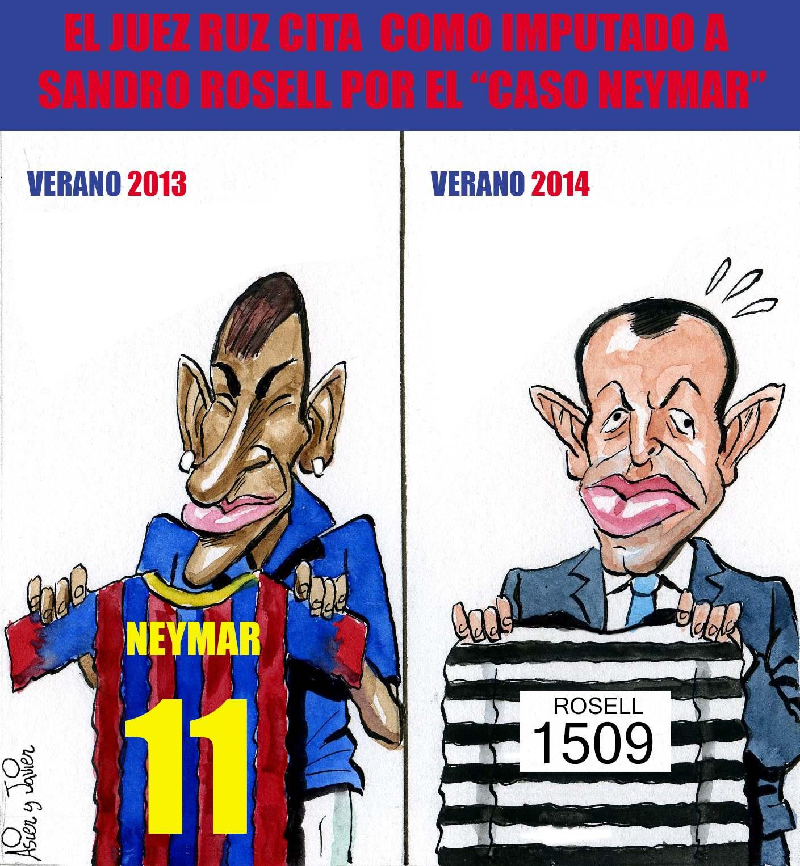 E juez Ruz imputa al expresidente del Fútbol Club Barcelona, Sandro Rosell, por delito fiscal en el Caso Neymar. Humor, caricaturas.