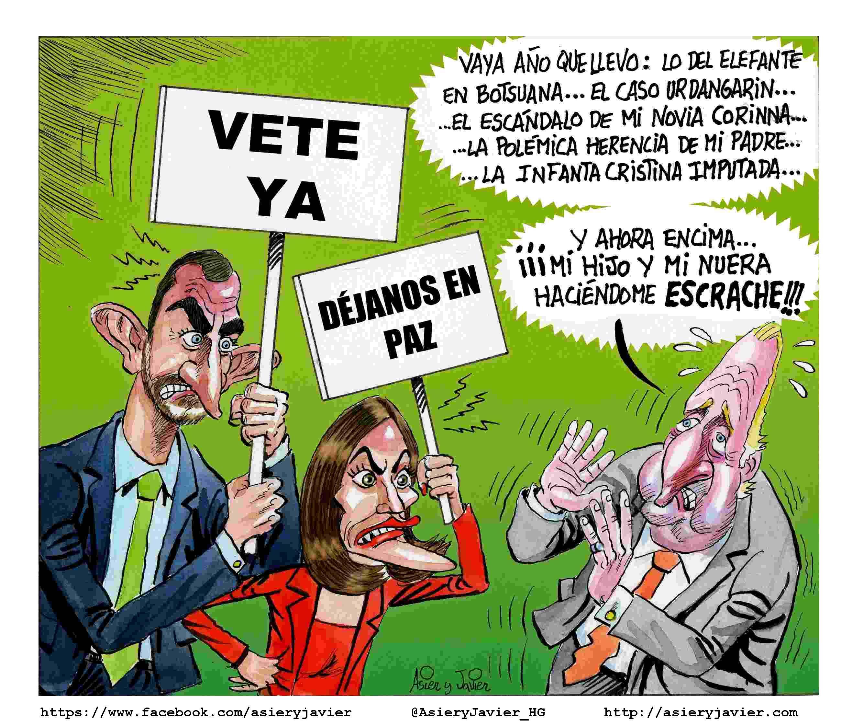 El verdadero motivo que provocó la abdicación de Juan Carlos I. Caricaturas Felipe VI, Letizia. Viñeta. Humor