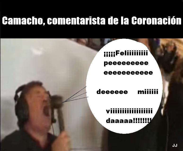 Si José Antonio Camacho hubiera sido comentarista de la Coronación de Felipe VI. Humor, viñeta.