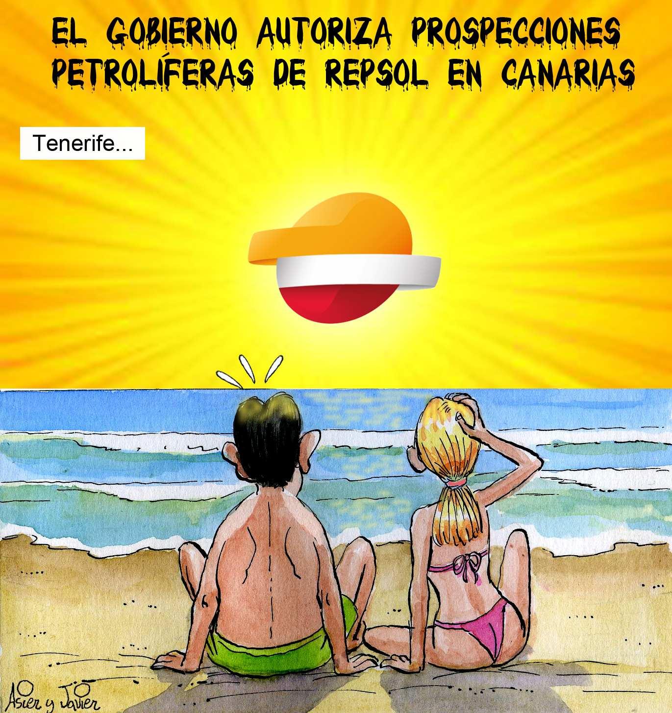 Habrá prospecciones petrolíferas de Repsol en aguas de las Canarias. Viñeta en la revista El Jueves.