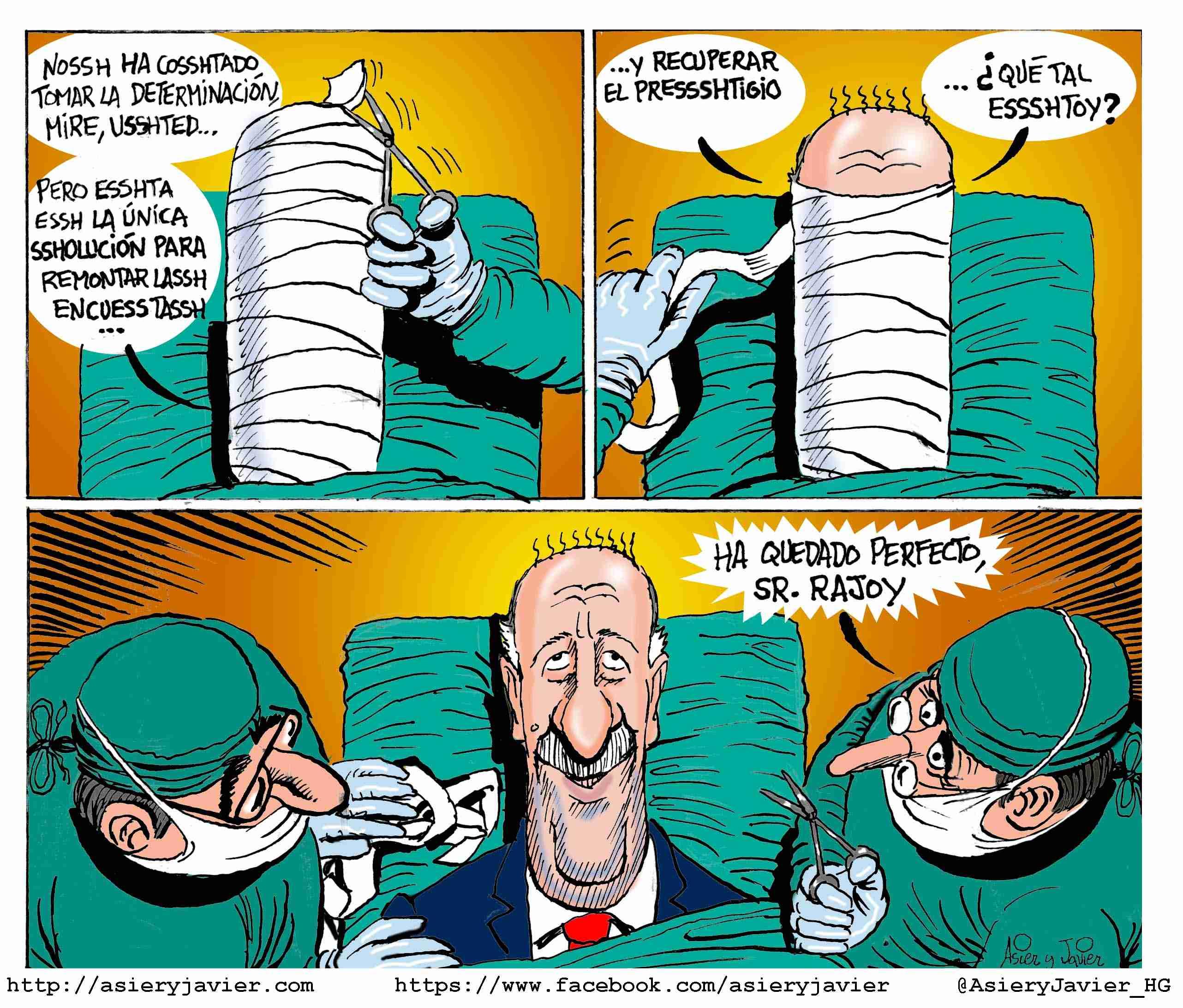 Rajoy confía en la andadura de la selección española de fútbol en el Mundial de Fútbol de Brasil dirigida por Vicente del Bosque. Caricatura, viñeta.