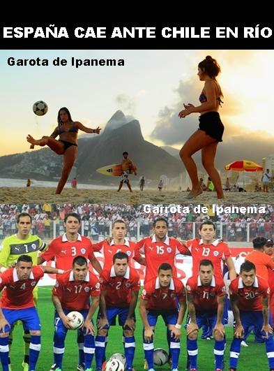 La selección española, eliminada del Mundial de Brasil tras perder ante Chile en Maracaná. Humor.