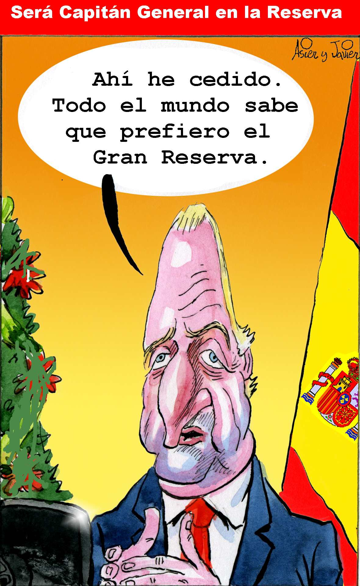 Juan Carlos será Capitán General en la Reserva. Rey, Caricatura, Humor