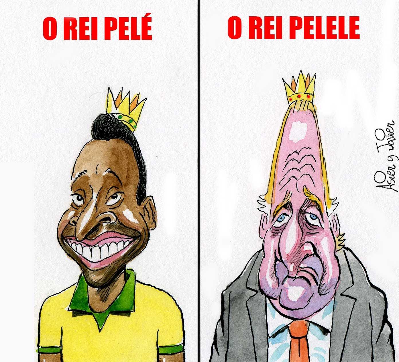 Dos reyes coparán la actualidad durante el mundial de fútbol de Brasil: Pelé y Juan Carlos. Humor, caricatura.
