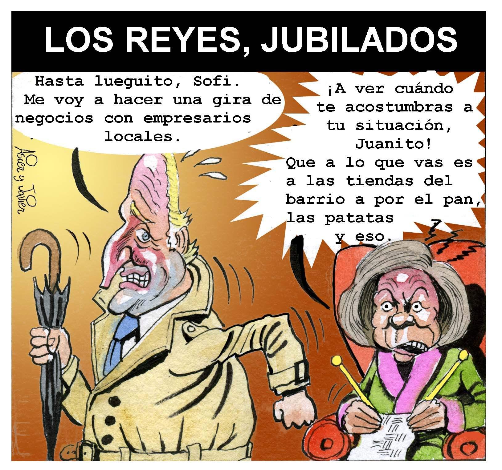 Los reyes de España, Juan Carlos de Borbón y Sofía de Grecia, jubilados.  Caricatura, Humor, Viñeta.