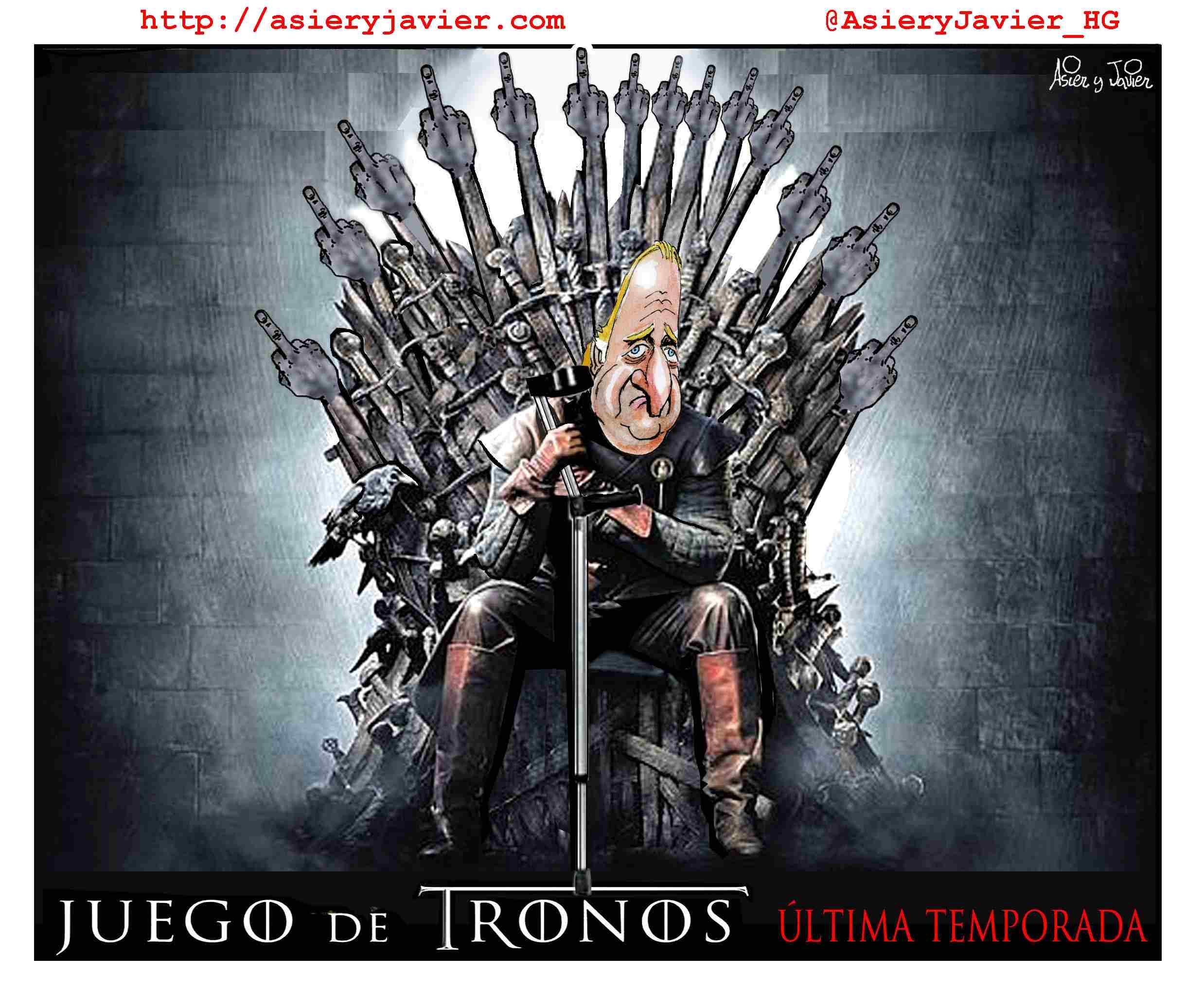 Última temporada de Juan Carlos en Juego de Tronos. Humor, abdicación, caricatura.